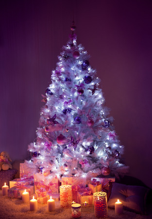 christmas tree decoration: Christmas Tree Lights and Presents, Decorated Xmas Tree Candles Gifts in Dark Night