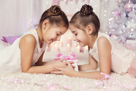 6 7 years: Children Girls Open Present Gift Box, Two Kids Celebrate Birthday Party