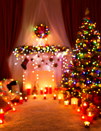 christmas lights background: Christmas Defocused Room Lights, Blurred Holiday Night Home Interior, Xmas Tree Stock Photo