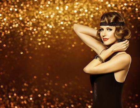 sequin: Fashion Woman Retro Hairstyle Makeup, Lady Hair Style, Model Girl Elegant Portrait