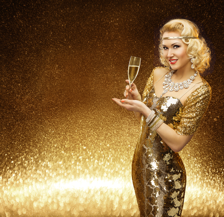Woman Gold, VIP Lady with Champagne Glass, Fashion Model posing in Rich Retro Golden Dress