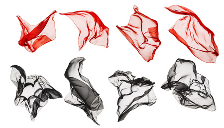 black and red: Fabric Cloth Flying, Flowing Waving Silk, Red Black on White background