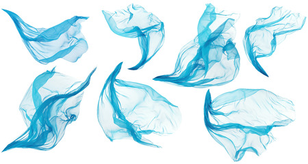 blowing of the wind: Fabric Cloth Flowing Flying, Cyan Silk Set of Textile Pieces over White