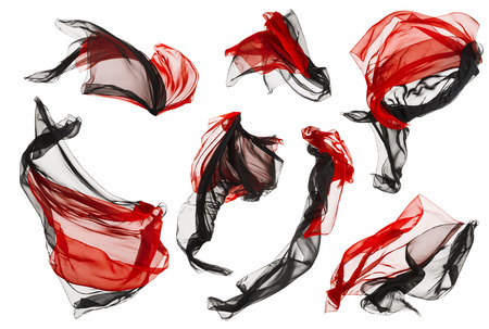 cloths: Fabric Cloth Flow and Waves, Folded Satin Fly Red Black on White background Stock Photo