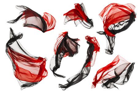 tela seda: Paño de la tela de flujo y las olas, doblada de raso Negro Mosca roja sobre fondo blanco