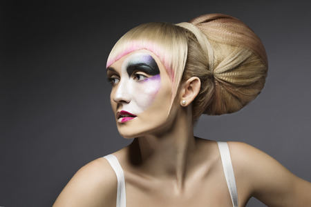 grease paint: Fashion Woman Make Up, Artistic Model Girl Makeup, Closeup Face on Gray background