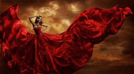 Woman Red Dress Flying Silk Fabric, Fashion Model Dance in Storm Wind