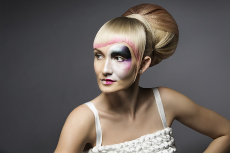 hair style: Fashion Woman Makeup Mask, Artistic Model Girl Make Up, Closeup Face Grease Paint