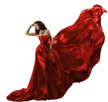 Žena Red Dress na bílé, mává Flying Silk Fabric, Beauty Model