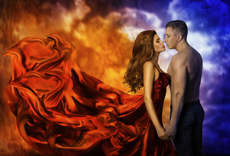 Couple in Love, Hot Fire Woman and Cold Man, Romantic Girl Kiss Lover