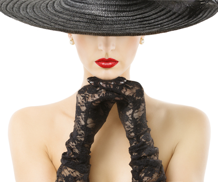 black hat: Woman Gloves Wide Brim Hat Red Lips, Girl in Black Widebrim Hat Hide Face on White Background
