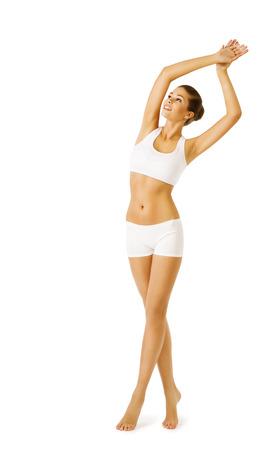 modelos posando: Mujer la belleza del cuerpo, la niña modelo de ejercicio físico en ropa interior blanca, entrenamiento del deporte Foto de archivo