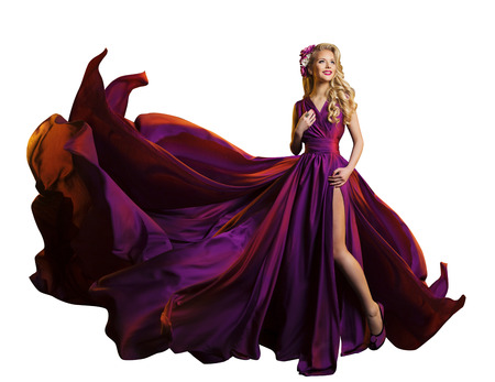 Woman Dress Flying Fabric, Beautiful Fashion Model in Purple Gown on White