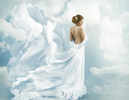 Women Fantasy Flying Gown, Waving Dress Blowing on Wind Banco de Imagens
