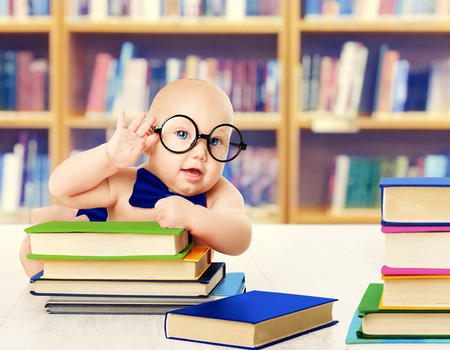 Baby in Glasses Read Books, Smart Kid Early Development and Education, Library Book Shelves