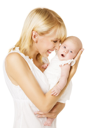 Mother And Newborn Baby, Happy Woman Holding New Born Daughter Over White