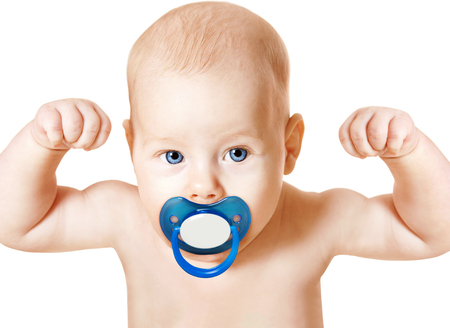 Strong Baby with Pacifier Raising Up Arms, Sport Kid over White