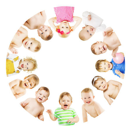 Kids and Babies Group Circle over White, Children in Round View Banco de Imagens