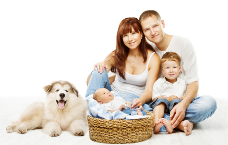 Dog and Family over White, Children Father Mother and Fluffy Pet Stock Photo