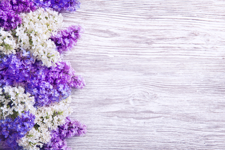 Lilac Flower on Wood Background, Blooms Pink Flowers in Left Side