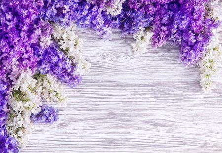 라일락 꽃 배경, 꽃 핑크 꽃 나무 판자에 스톡 콘텐츠