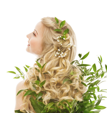 Hair Care, Woman Long Hair and Organic Leaves, Model Rear View over White background