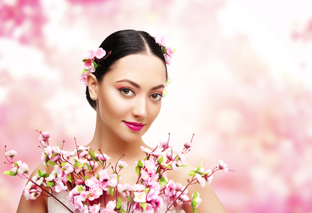camera girl: Woman Beauty with Pink Flowers, Asian Fashion Model Girl Portrait Stock Photo