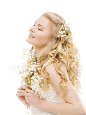 Woman Long Blond Hair, Beauty Fashion Model, Happy Girl on White