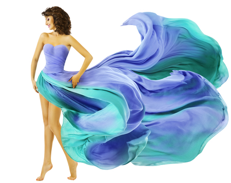 flying woman: Woman Dress Flying Fabric, Fashion Girl in Blue Waving Summer Skirt over White background