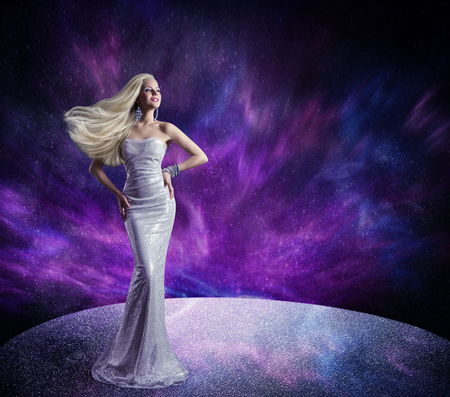 gown: Fashion Model Posing in Long Dress, Hair Waving on Wind, Beautiful Woman Gown over Purple