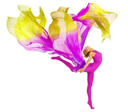 Acrobat Bailar con la tela, la mujer flexible en Leotardo blanco aislado, Gimnasia Danza Foto de archivo - 55589058