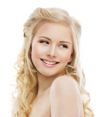 over the shoulder: Smiling Woman Face on White, Girl Teeth Smile Portrait, Looking over Shoulder Stock Photo