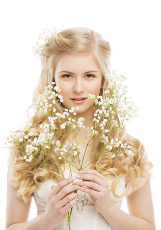Woman Face and Flowers over White, Girl Makeup Portrait, Natural Skin Cosmetics