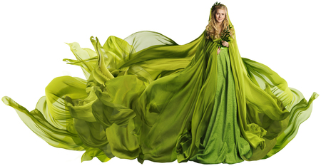 Woman in Flying Dress Fabric, Fashion Model in Green Clothes over White