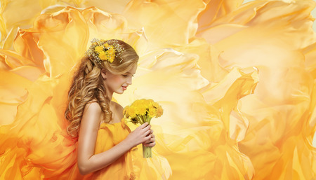Girl Flowers Bouquet, Young Fashion Model Beauty Face Smelling Yellow Dandelion