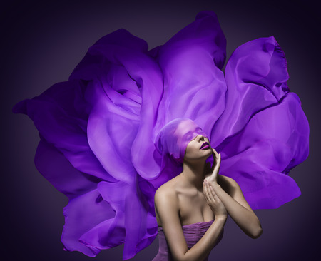 Woman Beauty Face with Silk Cloth, Fashion Model Waving Fabric Purple Flower