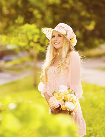 Woman Outdoors Fashion Portrait, Young Lady in Summer Hat Dress, Park Flowers photo