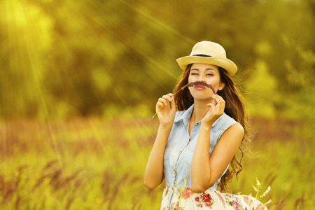summertime: Funny Woman Outdoor Portrait, Young Girl in Summer Meadow Field, Mustache Grass