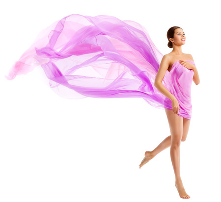 Woman Body Beauty, Fashion Model in Waving Silk Fabric, Cloth Flying Wind over White