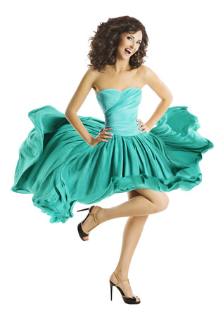 fashion dress: Woman Dancing in Waving Dress, Dancer Fashion Model, Skirt Flying on Wind Stock Photo