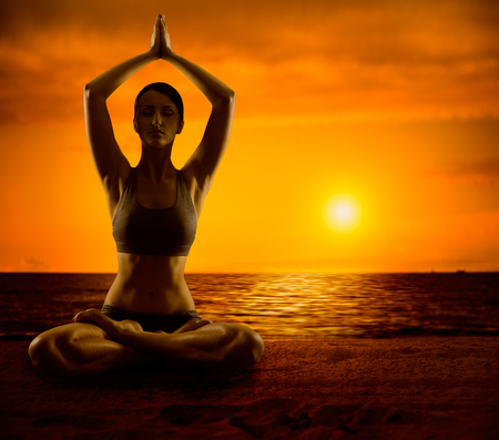 Yoga Meditate, Girl Meditation in Lotus Position, Woman Healthy Exercise photo