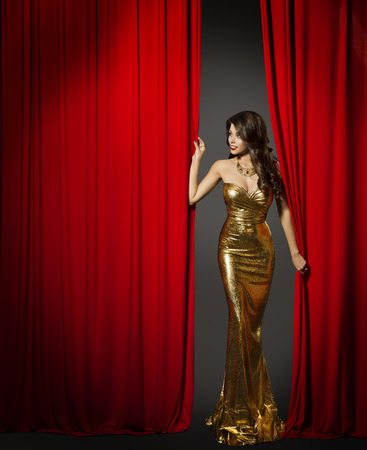 Actress Opening Red Cinema Curtain, Woman in Elegant Gold Dress
