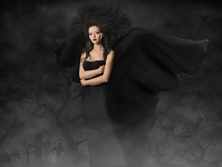 black wings: Woman Halloween Witch, Magic Girl with Black Wings, Night on Cemetery Stock Photo