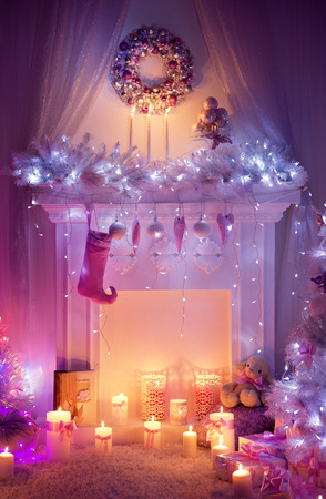 lighted: Christmas Fireplace, Wreath Sock on Magic Fire Place, Decorated Xmas Stocking Story in Lighted Interior