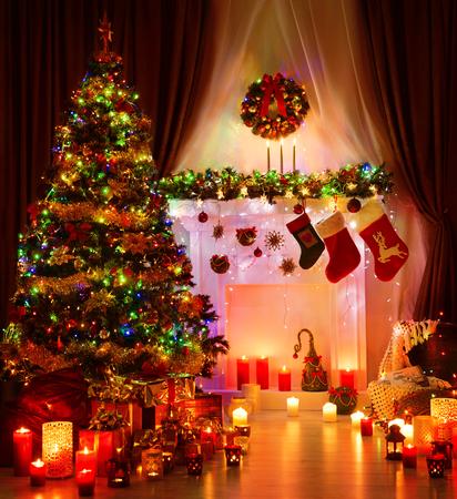 Christmas Room and Lighting Xmas Tree, Magic Interior Fireplace, Hanging Socks