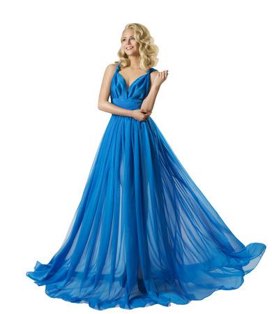 Vrouwen Fashion Long Prom Dress, Elegant Meisje In Baljurk, Blauwe Kleren Geïsoleerd Over Wit Stockfoto