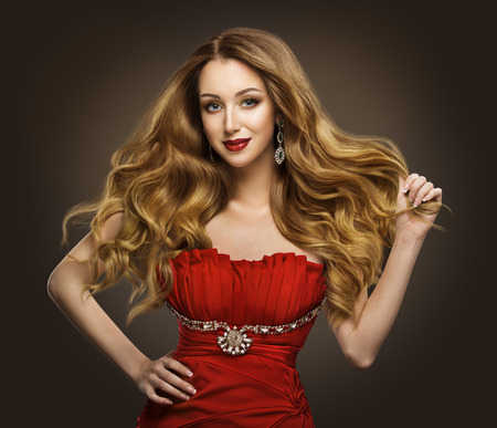 Fashion Woman Hair Style, Model with Long Brown Waving Hairstyle in Red Dress