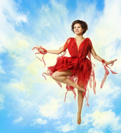 Woman Dance Fashion Red Dress, Flying Ballerina, Dancing Girl over Blue Sky