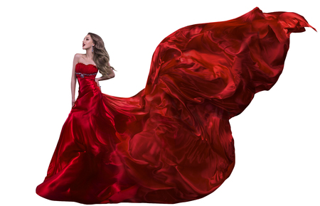 Woman Fashion Red Dress, Gown Waving on Wind, Girl with Flying Silk Fabric Isolated over White