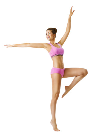 Woman Fitness and Sport Dancing, Young Girl Dance Aerobic, Dancer Slim Sporty Body, isolated over white